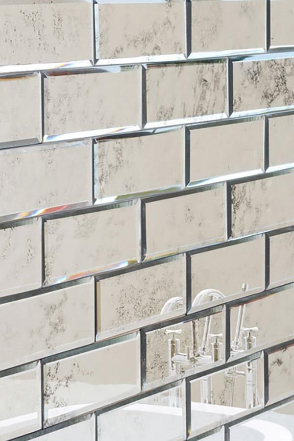 200x75 Vintage Effect Bevelled Mirror Brick Tiles My Furniture