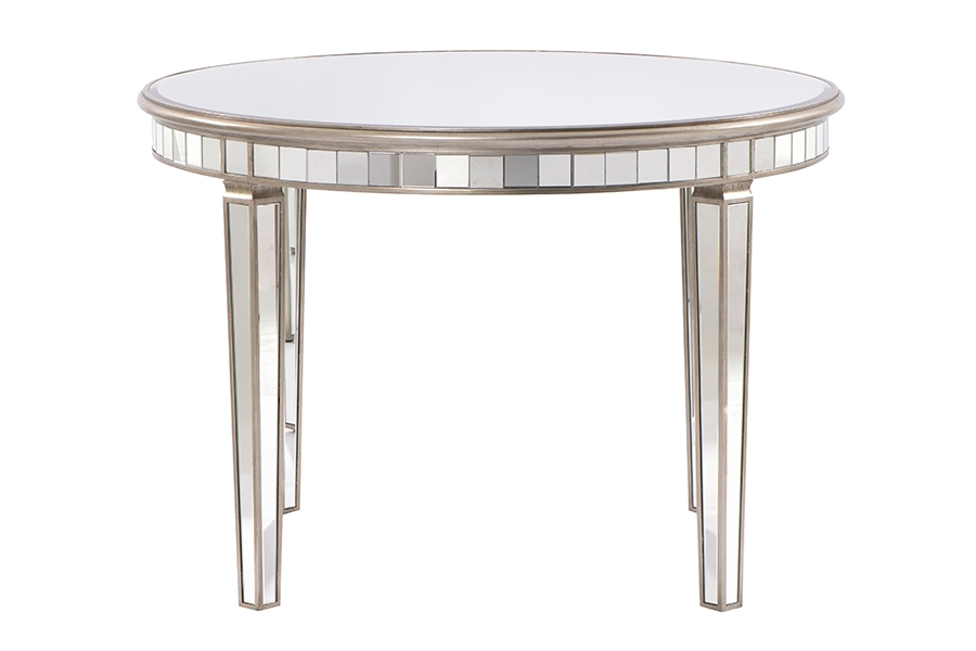 Antoinette Toughened Mirror Circular Dining Table Mirrored Dining Table My Furniture