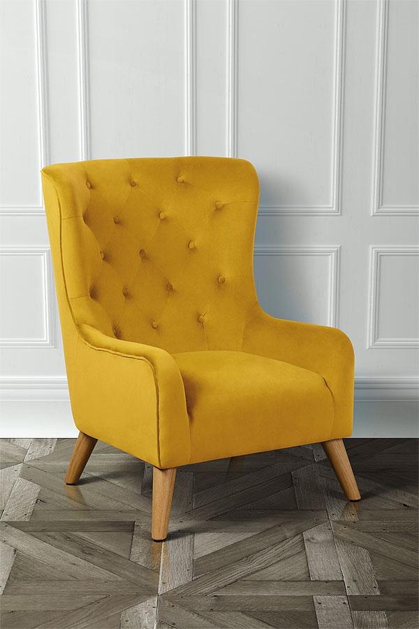 fauteuil dorchester  jaune moutarde