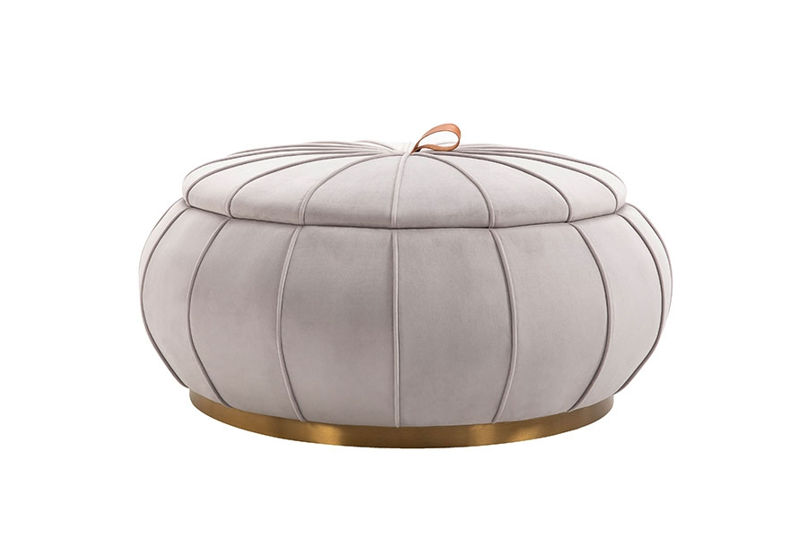 Brilliant Pumpkin Storage Ottoman Dove Grey Brass Base Machost Co Dining Chair Design Ideas Machostcouk